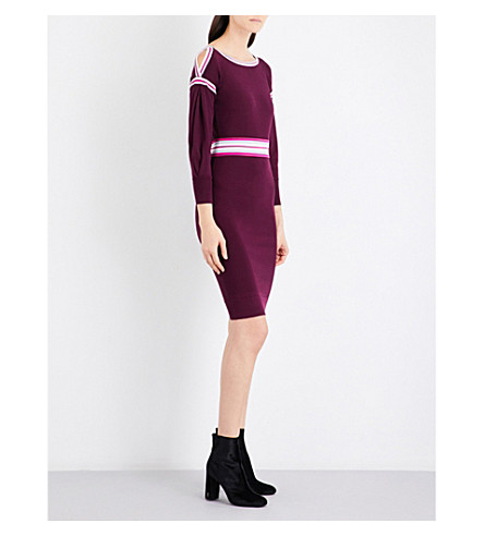KAREN MILLEN Cold-shoulder knitted dress (Plum/claret
