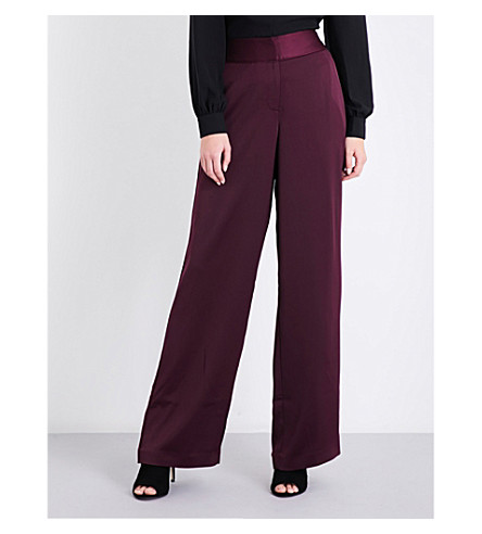 KAREN MILLEN Wide-leg high-rise charmeuse trousers (Purple