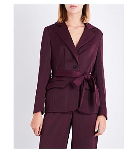 KAREN MILLEN Tailored-fit satin blazer (Purple