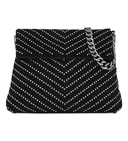 KAREN MILLEN Regent suede chevron stud shoulder bag (Black