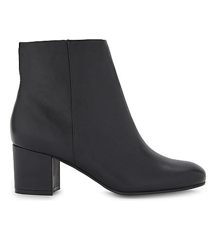 KAREN MILLEN Leather block heeled boots (Black