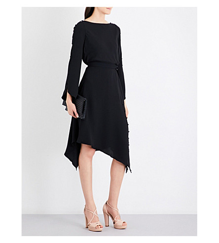 KAREN MILLEN Asymmetric-hem woven dress (Black