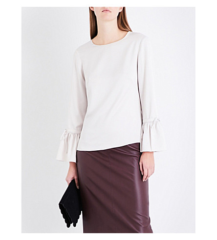 KAREN MILLEN Fluted-sleeve satin top (Cream