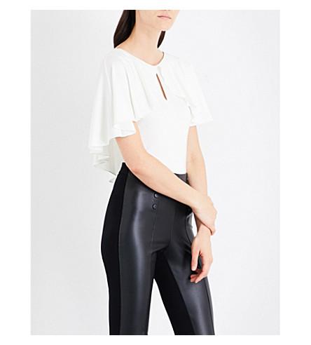 KAREN MILLEN Asymmetric frilled stretch-jersey T-shirt (Cream