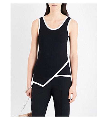KAREN MILLEN Contrasting-trim jersey top (Black
