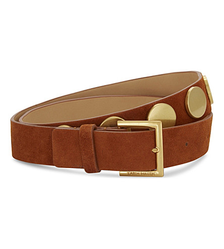 KAREN MILLEN Large stud suede belt (Tan