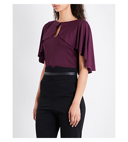 KAREN MILLEN Frilled jersey top (Purple