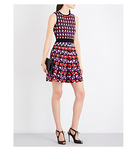 KAREN MILLEN Geometric-pattern knitted dress (Multi-coloured