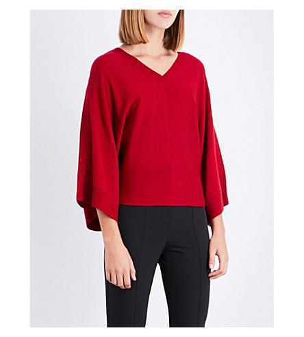KAREN MILLEN Relaxed-fit knitted wool jumper (Red