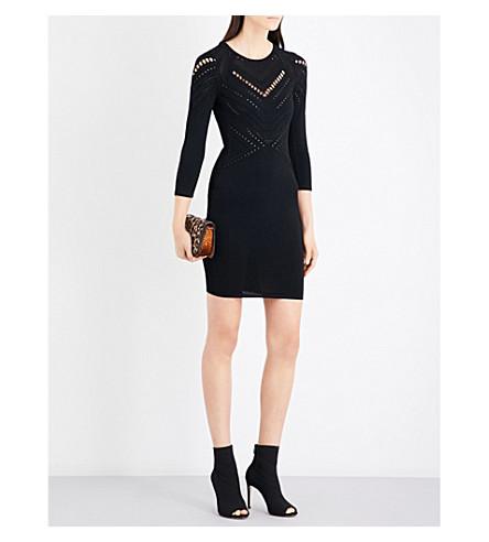 KAREN MILLEN Open-knit detail knitted dress (Black