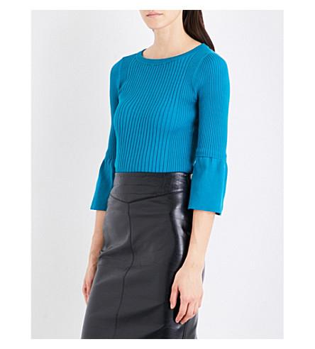 KAREN MILLEN Fluted-cuff knitted jumper (Aqua