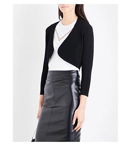 KAREN MILLEN Cropped knitted cardigan (Black
