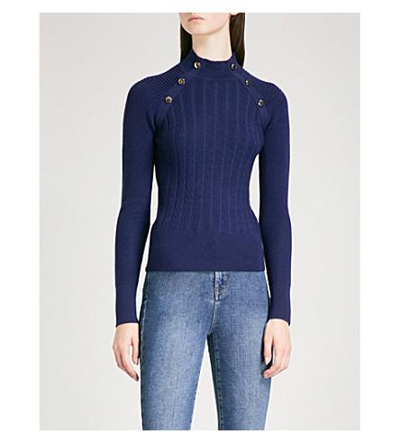 KAREN MILLEN High neck chunky-knit wool-blend jumper (Navy