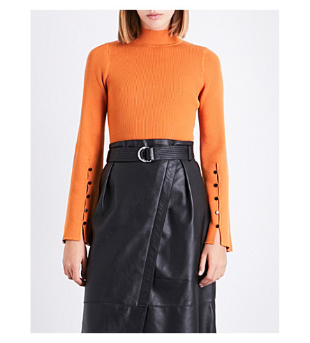 KAREN MILLEN Flared-sleeve knitted jumper (Bright+orange