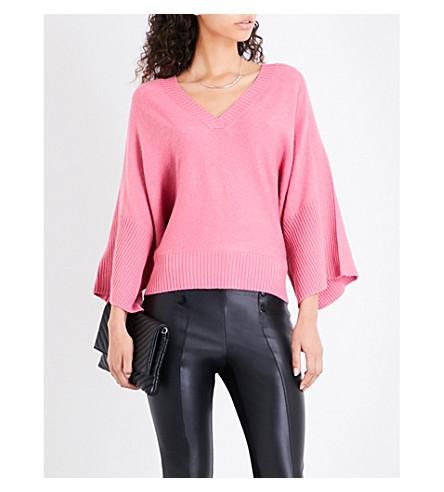 KAREN MILLEN Kimono cashmere-blend jumper (Pink