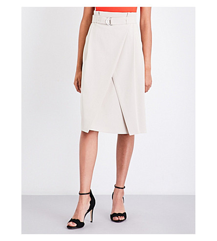 KAREN MILLEN High-rise paperbag skirt (Cream