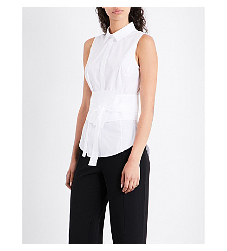 KAREN MILLEN Belted stretch-cotton shirt (White