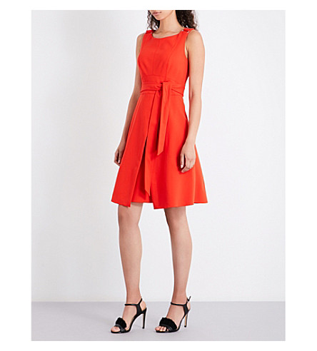 KAREN MILLEN A-line crepe dress (Bright+orange