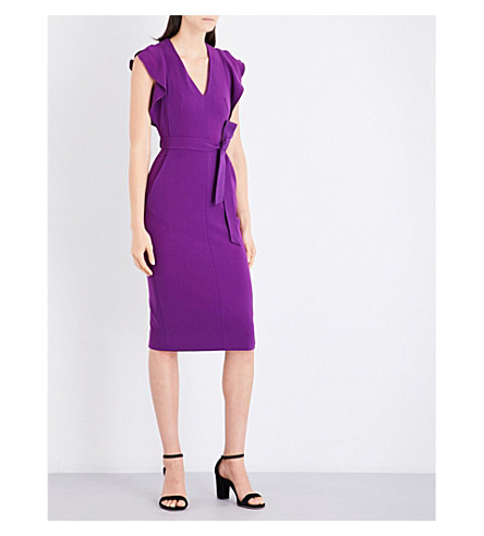 KAREN MILLEN Belted crepe dress (Purple