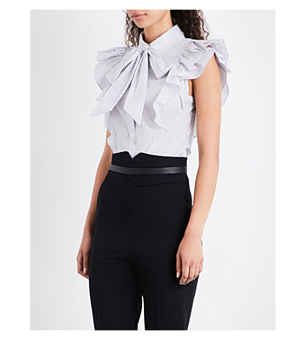 KAREN MILLEN Stripe-print cotton-blend shirt (Monochrome