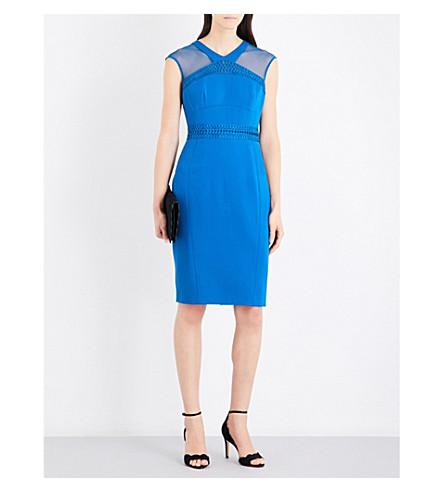 KAREN MILLEN Embroidered-insert crepe dress (Blue