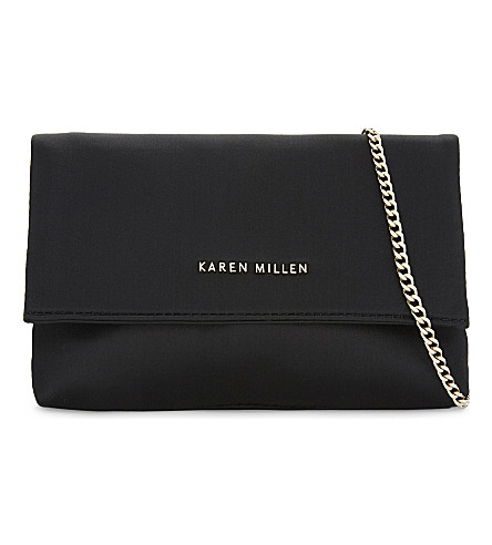 KAREN MILLEN Mini satin Brompton clutch (Black
