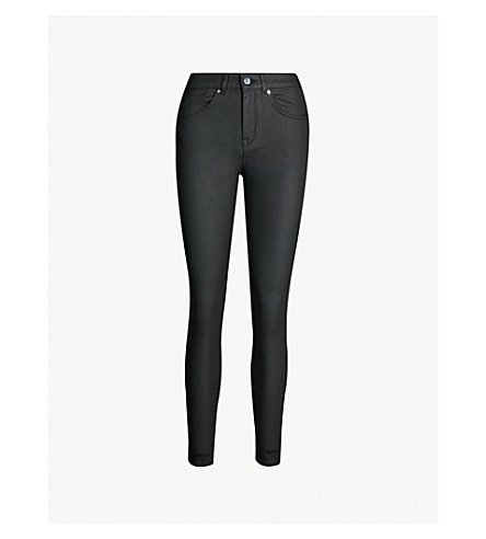 KAREN MILLEN Coated skinny mid-rise jeans (Black