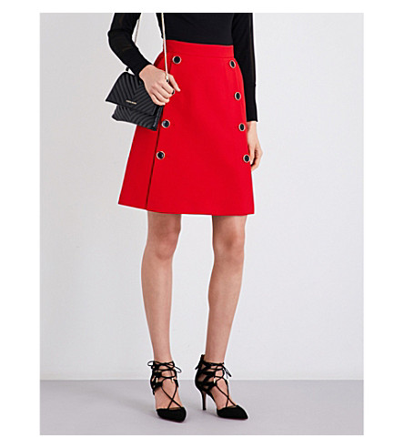 KAREN MILLEN Button-detailed woven skirt (Red