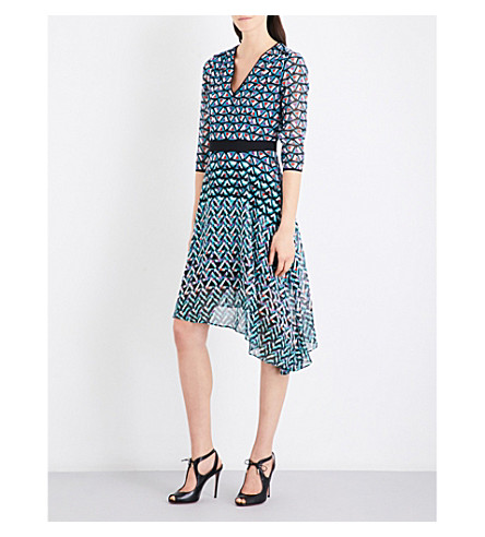 KAREN MILLEN Pyramid geometric-print dress (Grey