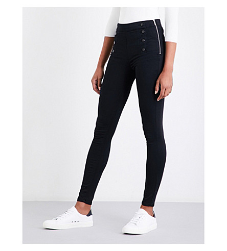 KAREN MILLEN Button-detail stretch-denim leggings (Black