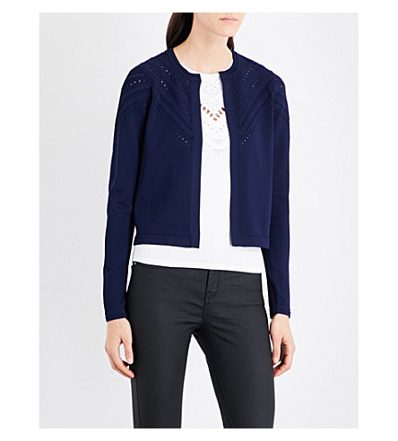 KAREN MILLEN Chevron-stitch knitted cardigan (Navy