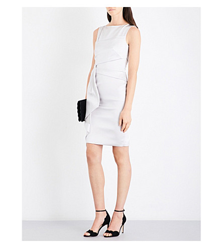 KAREN MILLEN Boat-neck satin dress (Cream