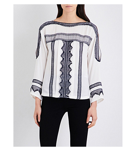 KAREN MILLEN Embroidered crepe blouse (Multi-coloured