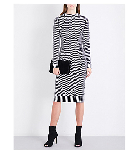 KAREN MILLEN Chevron knitted dress (Monochrome