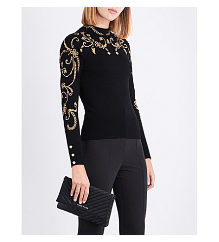 KAREN MILLEN Floral-embroidered knitted jumper (Multi-coloured