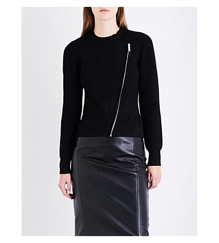 KAREN MILLEN Zip-detail stretch-knit cardigan (Black