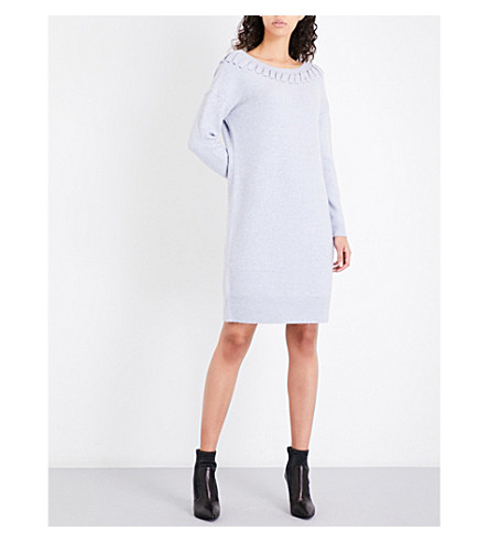 KAREN MILLEN Handword wool-blend knitted dress (Grey