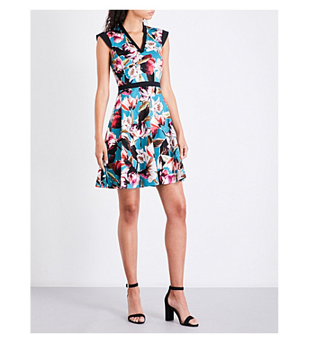KAREN MILLEN Painterly floral-print dress (Grey