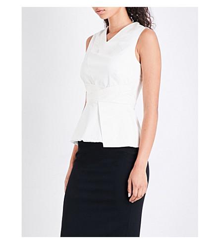 KAREN MILLEN Asymmetric-hem stretch-cotton top (White