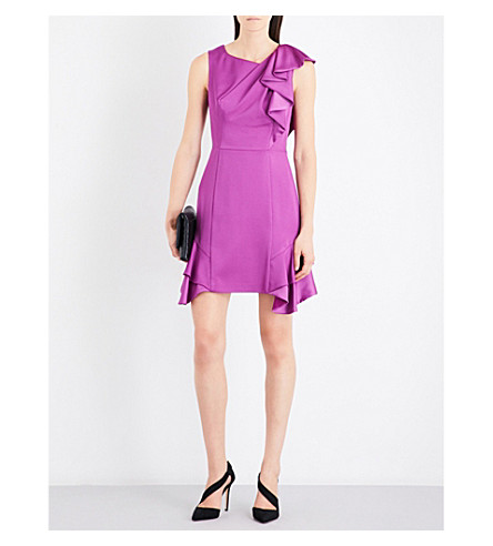 KAREN MILLEN Ruffled charmeause dress (Purple