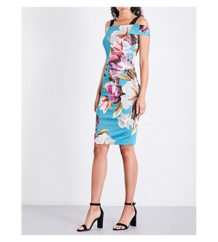 KAREN MILLEN Painterlily cold-shoulder stretch-cotton dress (Grey