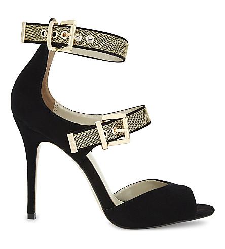 KAREN MILLEN Gold buckle suede sandals (Black