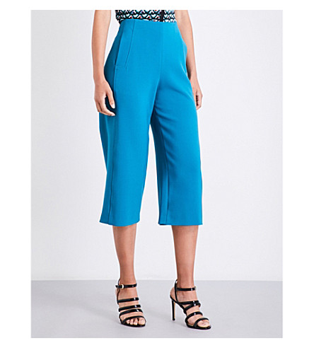 KAREN MILLEN Tailored-fit high-rise wide cropped gabardine trousers (Green