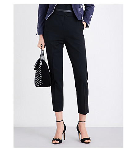 KAREN MILLEN High-rise cropped wool-blend trousers (Black