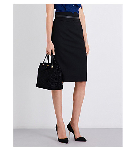 KAREN MILLEN High-rise wool-blend skirt (Black