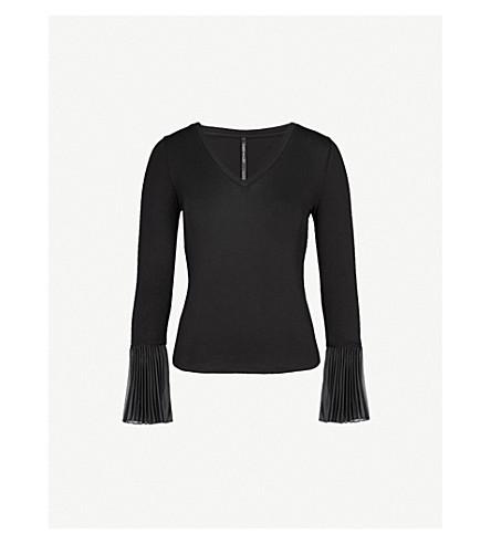 KAREN MILLEN Pleated-cuff jersey top (Black