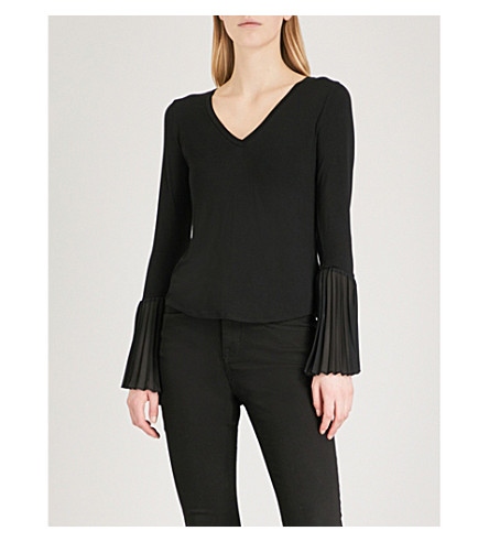 KAREN MILLEN Pleated-cuff jersey top (Black
