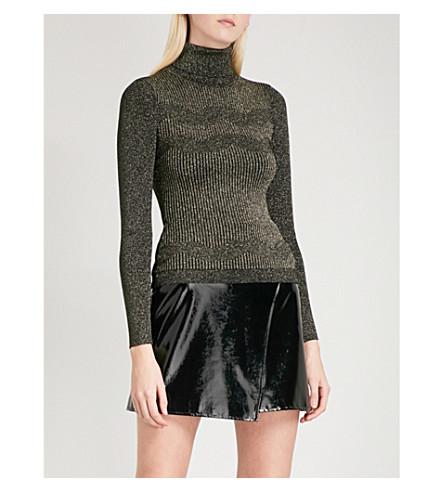 KAREN MILLEN Turtleneck metallic-knit jumper (Gold