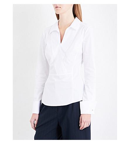 KAREN MILLEN Wrap-over front stretch-cotton shirt (White