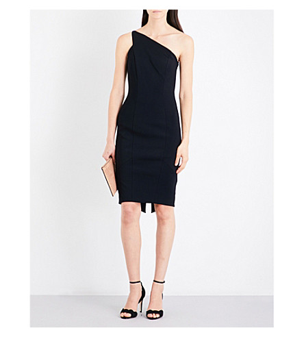 KAREN MILLEN One-shoulder crepe dress (Black